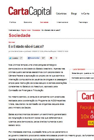 """Carta Capital: """"Nos últimos tempos uma onda perigosa ameaça a democracia e a laicidade do Estado brasileiro"""""""