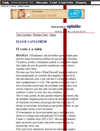 """Folha de S. Paulo: """"A clandestinidade atinge a ambas, pobres e ricas, mas o risco de adoecer ou morrer fica na conta das pobres"""""""