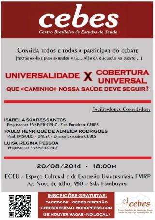 """Núcleo Cebes Ribeirão Preto debate """"Universalidade x Cobertura Universal"""""""