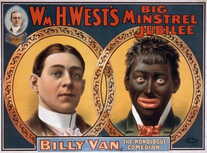 Imagem: Wikimedia Commons | Cartaz do ano de 1900 anuncia 'Minstrel Show' nos EUA, em que ator branco usa 'blackface' para representar pessoa negra