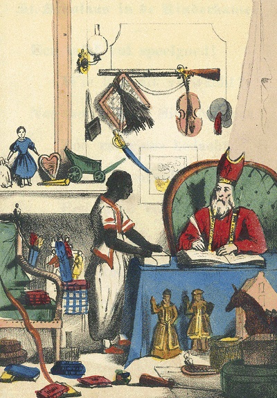 """Obra do autor holandês Jan Schenkman (1806-1863), que teria criado o personagem Zwarte Piet em seu livro """"São Nicolau e seu servo"""" (1850)"""