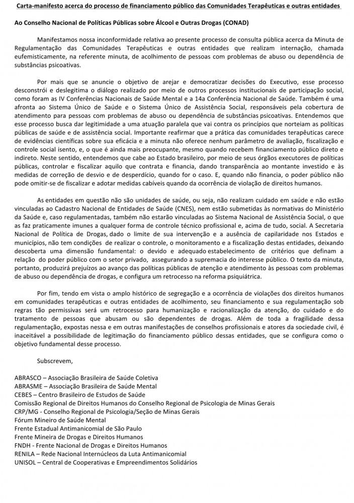 Microsoft Word - Carta ao CONAD - Regulamentação de CTs.docx