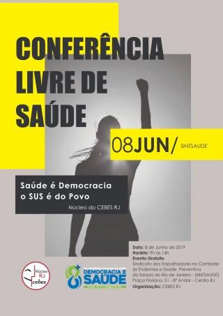 Cebes promove Conferência Livre de Saúde no Rio de Janeiro