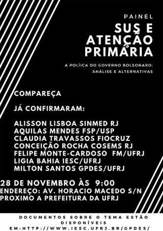 Painel sobre SUS e Financiamento da APS - a política do governo Bolsonaro: Análise e Alternativas