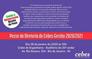 Hoje (28/10) é a posse da diretoria Cebes - Gestão 2020/2021
