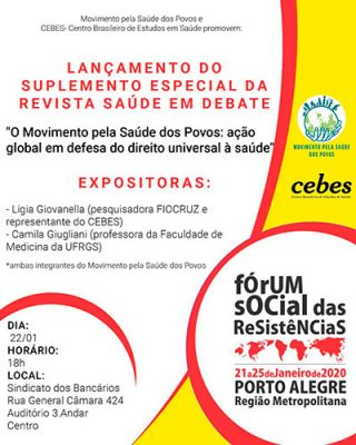 Lançamento do suplemento especial da revista Saúde em Debate no Fórum Social das Resistências