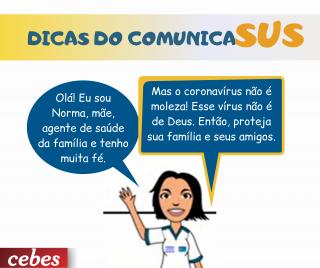 Norma, do ComunicaSUS, tem dicas de prevenção ao Covid-19